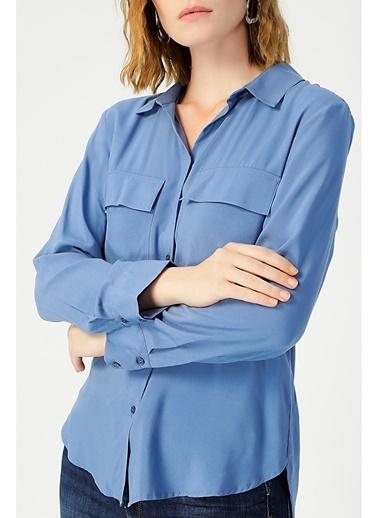 Random Kadın Uzun Kollu Klasik Gömlek Mavi